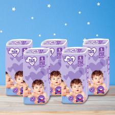 Shoppy New Love Premium comfort gyermek eldobható pelenka, 5 JUNIOR, 11-25 kg, 5x38 db pelenka
