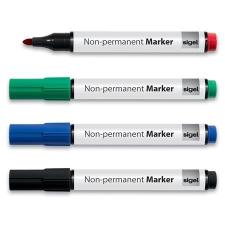 SIGEL Alkoholmentes marker készlet, 1-3 mm, kúpos, SIGEL, 4 különböző szín filctoll, marker