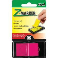 "SIGEL Jelölőcímke, műanyag, ""Z"", 50 lap, 25x45 mm, SIGEL, rózsaszín post-it"