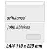 SilverBall Boríték LA4 szilikon JOBB ABLAK 45x90mm 110x220mm SilverBall 1000db/d