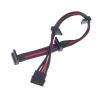 Silverstone 4-Pin Molex - 4x SATA hosszabbító - 300mm fekete/piros