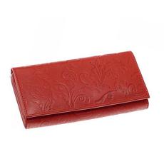 SLM nyomott inda mintás, piros nagy női bőr pénztárca NY05