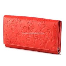 SLM nyomott mintás, piros nagy női bőr pénztárca NY04