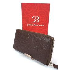 SLM Sylvia Belmonte rózsa mintás, sötétbarna nagy körzippes női bőr pénztárca RO01