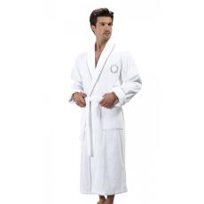 Soft Cotton SEHZADE férfi fürdőköpeny L Fehér - ezüst hímzés / White - silver embroidery