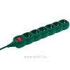 Somogyi NV 06K-5/G hálózati elosztó, kapcsolós, 6 aljzat, 5m, zöld