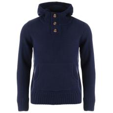 SoulCal férfi pulóver - SoulCal Button Knit Hoody Mens Navy