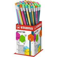 "STABILO Grafitceruza radírral display, 2B, hatszögletű, STABILO ""Pencil 160"" ceruza"