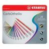 """STABILO Pasztell ceruza készlet, kerek, fém doboz,  STABILO \""""CarbOthello\"""", 24 különböző szín [24 db]"""