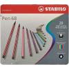 """STABILO Rostirón készlet, 1 mm, fém doboz, STABILO """"Pen 68"""", 20 különböző szín"""