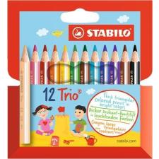 """STABILO Színes ceruza készlet, háromszögletű, vastag, rövid, STABILO """"Trio"""", 12 különböző szín színes ceruza"""