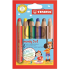 """STABILO Színes ceruza készlet, kerek, vastag,  """"Woody 3 in 1"""", 6 különböző szín"""
