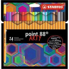 """STABILO Tűfilc készlet, 0,4 mm, STABILO """"Point 88 ARTY"""", 24 különböző szín filctoll, marker"""