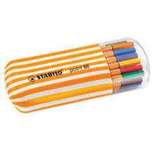 """STABILO Tűfilc készlet, 0,4 mm, STABILO """"Point 88 Zebrui"""", 20 különböző szín filctoll, marker"""