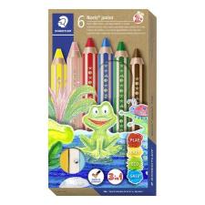 """STAEDTLER Színes ceruza készlet, 3 in 1, hatszögletű, félhosszú, vastag, ajándék hegyezővel, STAEDTLER """"Noris Junior"""", 6 különböző ceruza"""