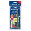 """STAEDTLER Színes ceruza készlet, hatszögletű, ajándék grafitceruzával és radírral, STAEDTLER """"Noris Club"""", 12 különböző szín (TS61SET6)"""
