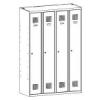 Sum 340 W hosszúajtós öltözőszekrény (4 ajtós, lábazaton álló)