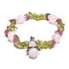 Sütő-ékszer Krizolit, rózsakvarc, turmalin angyalos karkötő