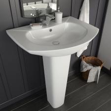 Szabadon álló fehér kerámia mosdókagyló lábbal 650x520x200 mm fürdőszoba kiegészítő