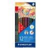 """SZÍNES ceruza készlet, hatszögletű, STAEDTLER """"Noris Colour"""", 10+2 különböző szín (TS185C12P)"""
