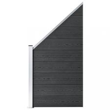 Szürke WPC kerítéspanel 90 x (100-180) cm kerti dekoráció