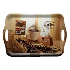 . Tálca, szögletes, műanyag, kávéház mintás, 35,5x25,5 cm konyhai eszköz