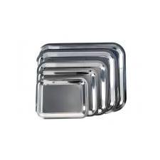 . Tálca, szögletes, rozsdamentes acél, krómozott, 35x28cm konyhai eszköz