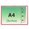 TARIFOLD Bemutatótábla, függõ, A4, fekvõ, fém fülecskével, TARIFOLD, piros