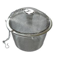 . Teatojás, rozsdamentes acél, hálós, 9cm tányér és evőeszköz