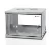 Techly Pro fali szekrény; ECO 19'' 6U/320 mm üvegajtó; összeszerelt; szürke