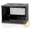 TECHLYPRO fali szekrény, ECO 19'' 6U/450 mm üvegajtó, összeszerelt, fekete