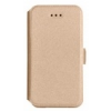 Telone Book Pocket oldalra nyíló fényes bőrbevonatos támasztós fliptok Samsung A710 Galaxy A7 2016-hoz arany*