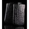 Telone Special Croco álló kihúzhatós bőrtok Samsung S6500 Galaxy mini 2 méretű fekete*