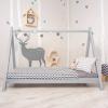 TEMPO KONDELA Montessori ágy, tűnyalábos fenyőfa, szürke, GROSI