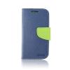Tok, Telone Fancy oldalra nyíló flip tok, szilikon belsővel, Huawei Honor 8, kék-lime zöld, csomagolás nélküli