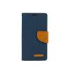 Tok, Telone Fancy oldalra nyíló flip tok, szilikon belsővel, LG K4, sötétkék, szövetbevonatos, csomagolás nélküli