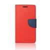 Tok, Telone Fancy oldalra nyíló flip tok, szilikon belsővel, Sony Xperia X Compact (Mini), piros-kék, csomagolás nélküli