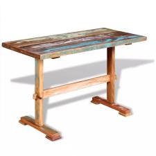 Tömör újrahasznosított fa étkezőasztal talapzattal 120 x 58 x 78 cm kerti bútor