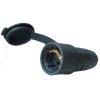 TRACON csatlakozó aljzat oldalsó védőérintkezővel, gumi, 16A, 250V, 2P+E, IP44