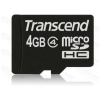 Transcend Memóriakártya MicroSDHC 4GB CLASS 4 + adapter