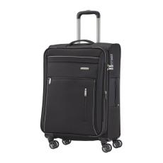 TRAVELITE CAPRI M fekete négykerekű bővíthető közepes bőrönd