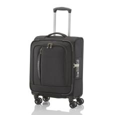 TRAVELITE CROSSLITE S fekete négykerekű kis kabin bőrönd