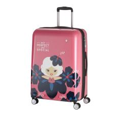 TRAVELITE LIL LEDY M pink négykerekű bővíthető közepes gyerek bőrönd