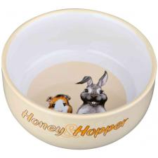 Trixie Honey and Hopper kerámia tál kisállatoknak (Krém, Zöld, Piros; 250 ml / ø 11 cm) kisállatfelszerelés