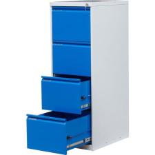 Tyne egysoros fém A4-es irattartó szekrény, 4 fiók, kék/szÜrke irattartó