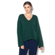 United Colors of Benetton , V-nyakú gyapjúpulóver, Angolzöld, XL (1244D4432-34N-XL)