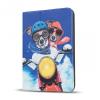"""Univerzális TabletPC tok, mappa tok, 7-8"""", stand, motoros kutyák minta, kék"""