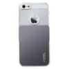 USAMS Smart Card átlátszó műanyag hátlaptok cserélhető alsó résszel Apple iPhone 5, 5S, SE-hez szürke-pezsgőszínű*