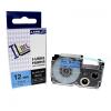 Utángyártott szalag Casio XR-12BU1, 12mm x 8m fekete nyomtatás / kék alapon