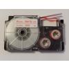 Utángyártott szalag Casio XR-6WER 6mm x 8m piros nyomtatás / fehér alapon
